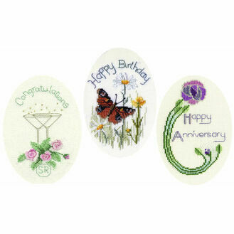 Greetings Cards Selection Set Of 3 Cross Stitch Card Kits