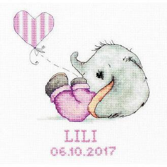 Baby Girl Elephant Birth Sampler Cross Stitch Kit
