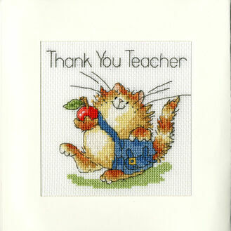 An Apple For Teacher Cross Stitch Card Kit