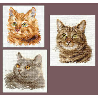 Feline Friends Cross Stitch Kits - Set of 3
