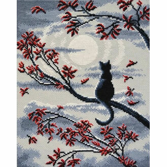 Moon Cat Cross Stitch Kit