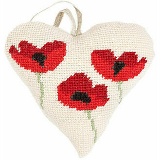 Poppies Lavender Heart Tapestry Kit