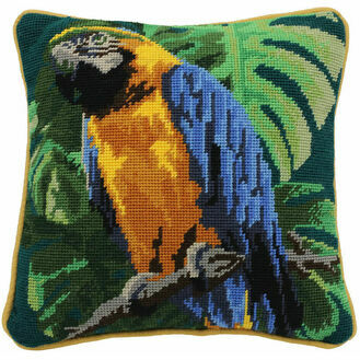 Tropical Parrot On Teal Herb Pillow Tapestry Kit