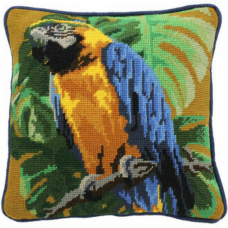 Tropical Parrot On Ochre Herb Pillow Tapestry Kit