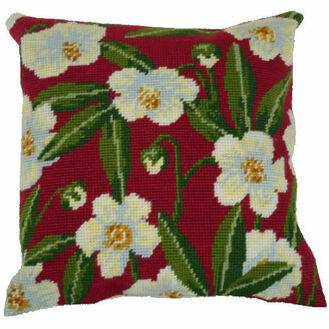 Wild Rose On Red Herb Pillow Tapestry Kit