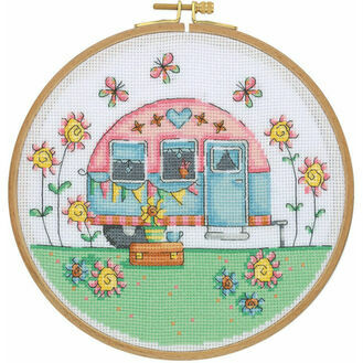 Happy Camper Cross Stitch Hoop Kit