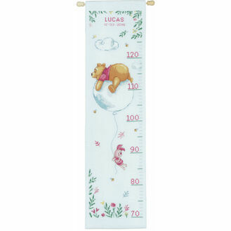 Winnie On Balloon Height Chart Cross Stitch Kit