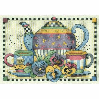 Teatime Pansies Cross Stitch Kit