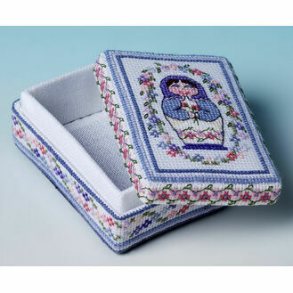 Blue Babushka Box 3D Cross Stitch Kit