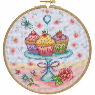 Pretty Cupcakes Cross Stitch Hoop Kit