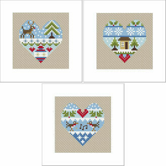 Festive Hearts Cross Stitch Christmas Card Kits - Set Of 3
