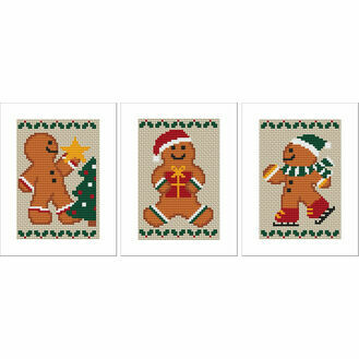 Gingerbread Men Cross Stitch Christmas Card Kits - Set of 3