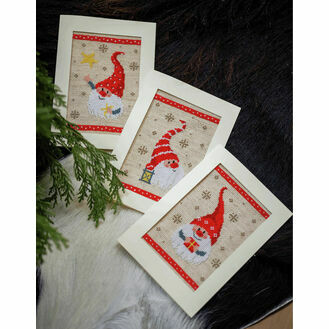 Happy Gnomes Cross Stitch Christmas Card Kits Set Of 3