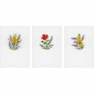 Flowers & Lavender Cross Stitch Card Kits Set of 3