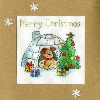 Winter Woof Cross Stitch Christmas Card Kit
