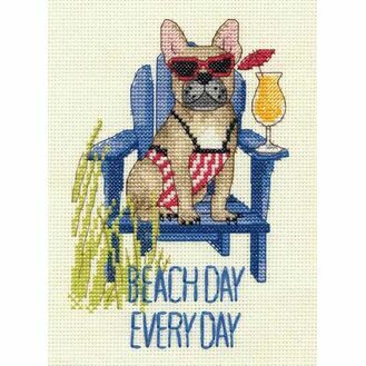 Beach Day Dog Cross Stitch Kit