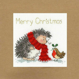 Christmas Wishes Hedgehog & Robin Cross Stitch Card Kit