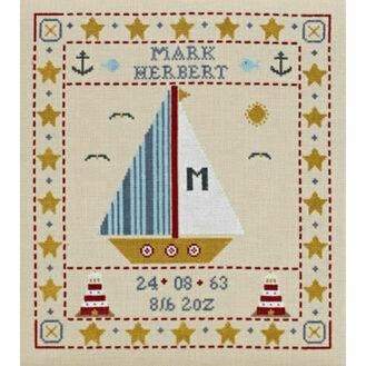 Sail Boat Birth Sampler Cross Stitch Kit