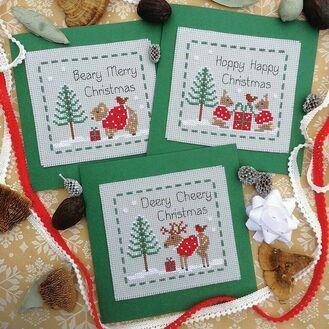 Woodland Friends Cross Stitch Christmas Card Kits (Set of 3)