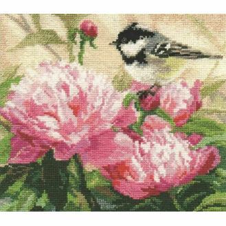 Titmouse And Peonies Cross Stitch Kit