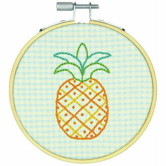 Pineapple Pattern Embroidery Hoop Kit