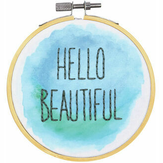 Hello Beautiful Embroidery Hoop Kit