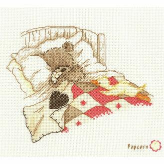 Popcorn Bear Cuddle Up Cross Stitch Kit