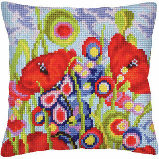 Red Poppies 2 Chunky Cross Stitch Cushion Panel Kit