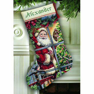 Candy Cane Santa Stocking Cross Stitch Kit