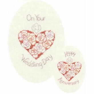 Wedding Day or Anniversary Cross Stitch Card Kit