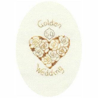 Golden Anniversary Cross Stitch Card Kit