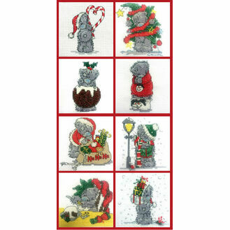 Set of 8 Mini Tatty Teddy Christmas Cross Stitch Kits