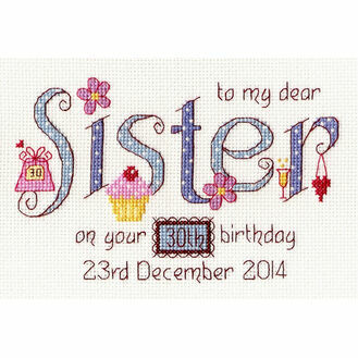 Sister Birthday Cross Stitch Kit