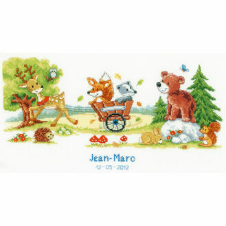 Animal Fun Birth Record Cross Stitch Kit