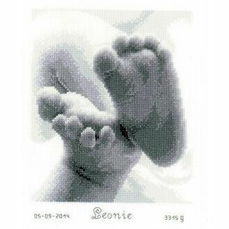Baby Feet Cross Stitch Birth Sampler Kit