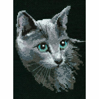 Russian Blue Cat Cross Stitch Kit