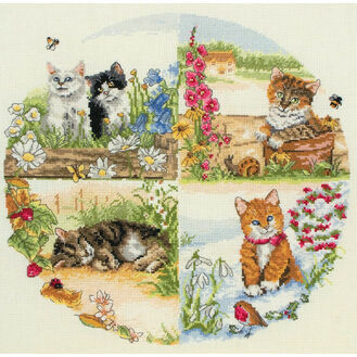 Cats & Seasons Cross Stitch Kit