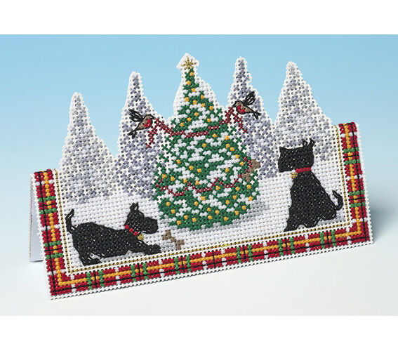 The Nutmeg Company Christmas Village Card 3D Counted Cross Stitch Kit 14 Count