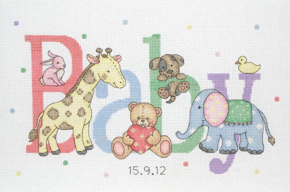 Animals Birth Sampler Cross Stitch Kit For Newborn Babies