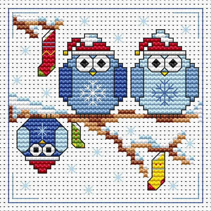 The Twitts Christmas Cross Stitch Card Kit only £8.50