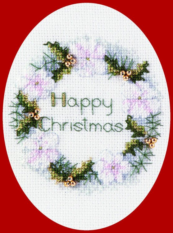 Golden Wreath Cross Stitch Christmas Card Kit Only 9 10