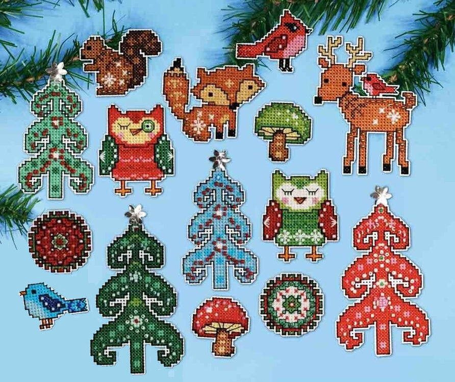 Woodland Christmas Ornaments Cross Stitch Kit only £22.40