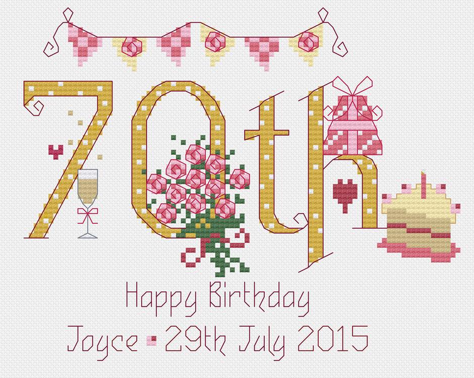 70th Birthday Cross Stitch Kit Only 1895