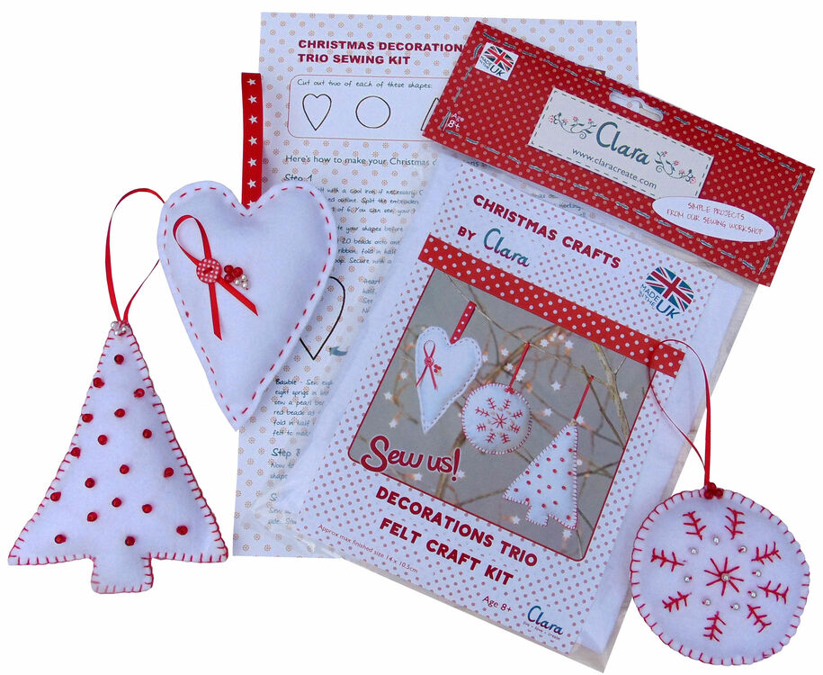 Christmas Trio Felt Decoration Craft Kit only £12.00