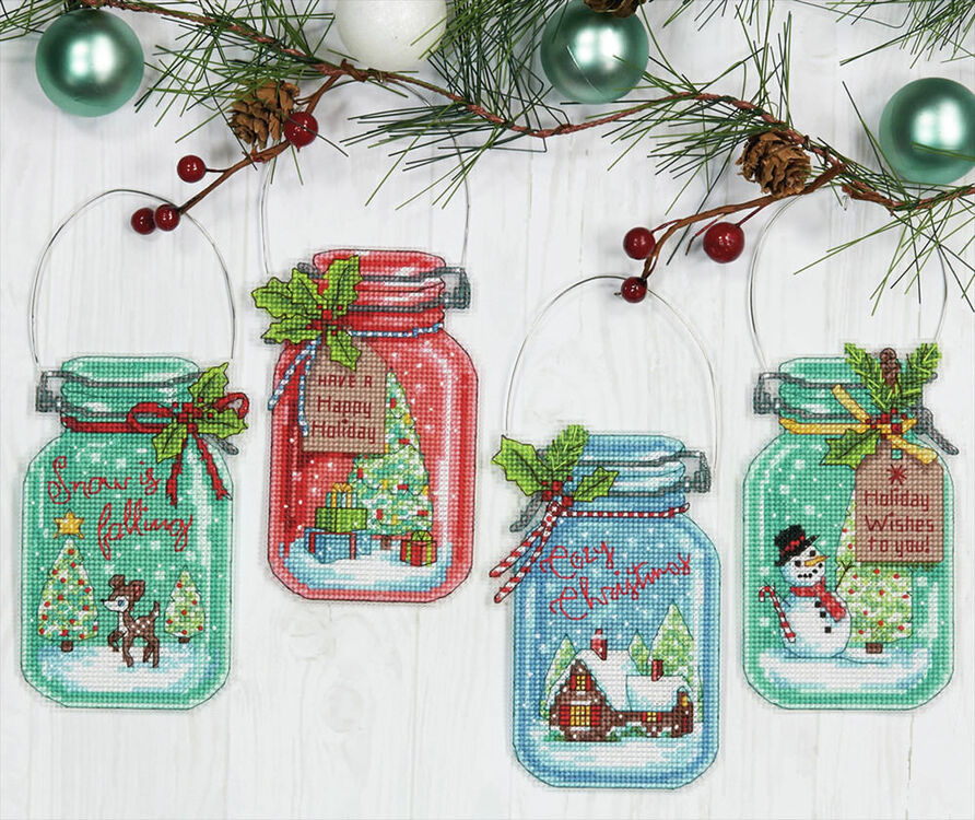 Christmas Jar Ornaments Cross Stitch Kit only £22.40