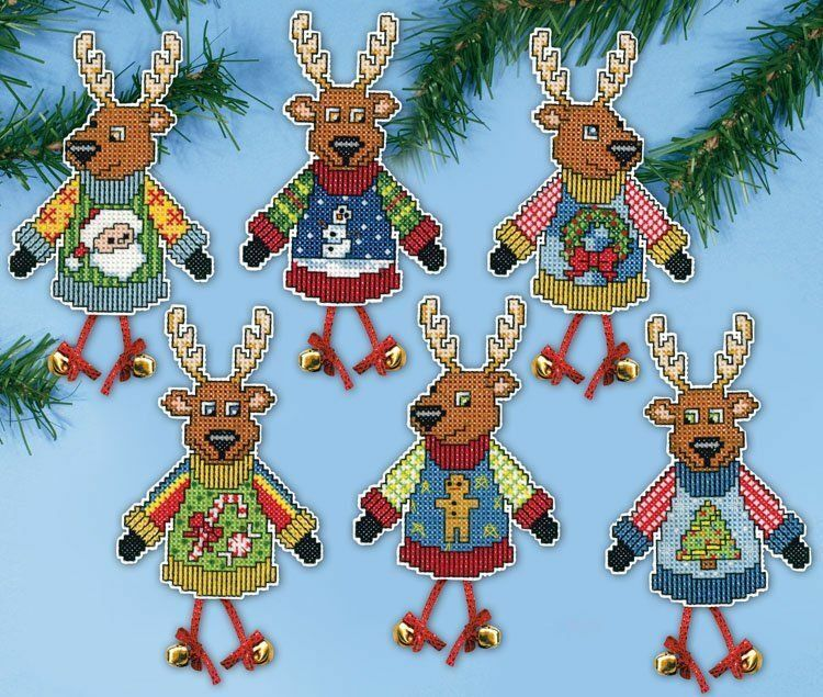 Christmas Jumper Reindeer Cross Stitch Ornament Kit only £ ...