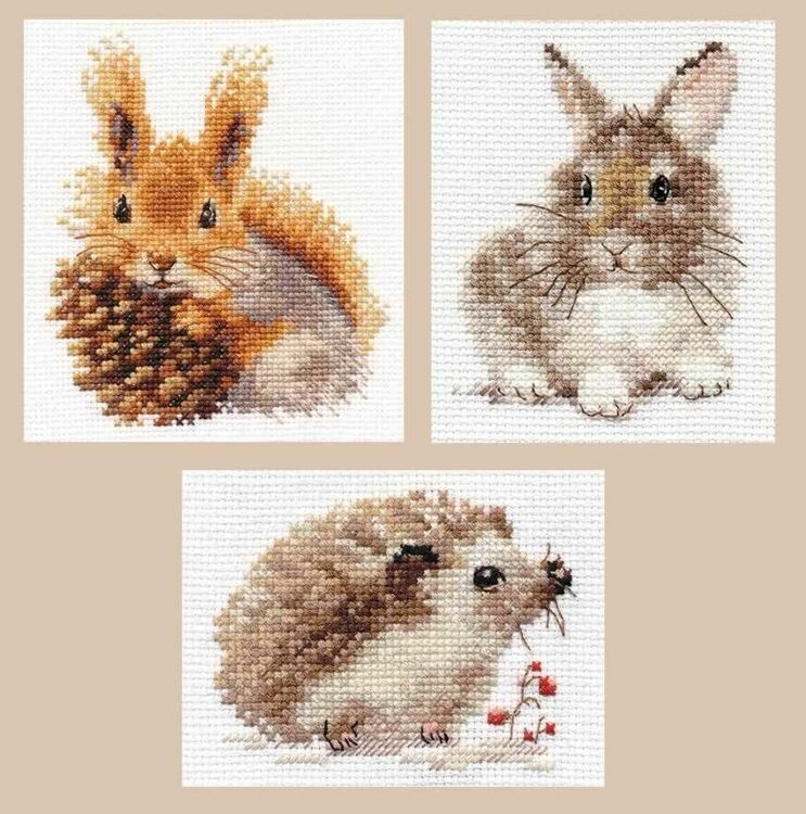Exclusive counted cross stitch kit BROWN HARE all materials needed