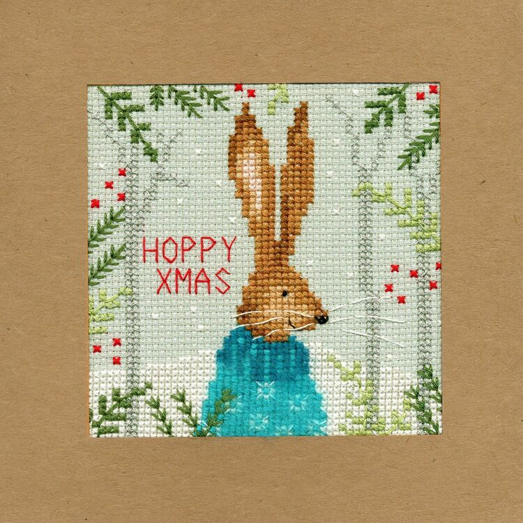 xmas hare cross stitch christmas card kit  bothy threads