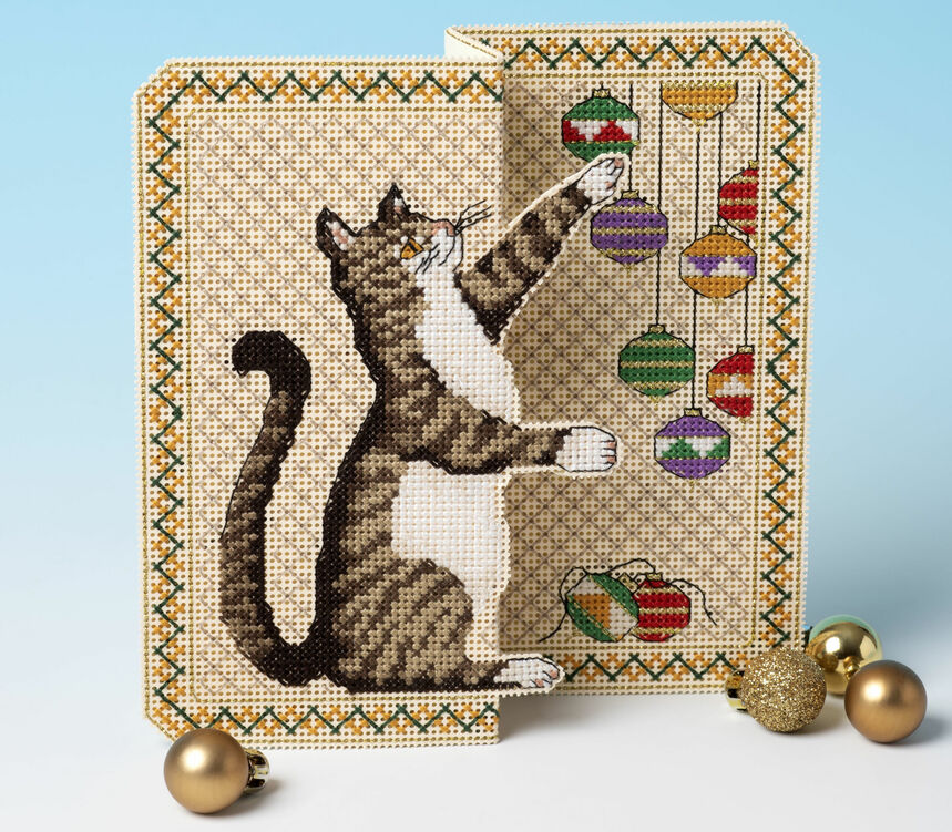 christmas mischief 3d cross stitch card kit only £1560