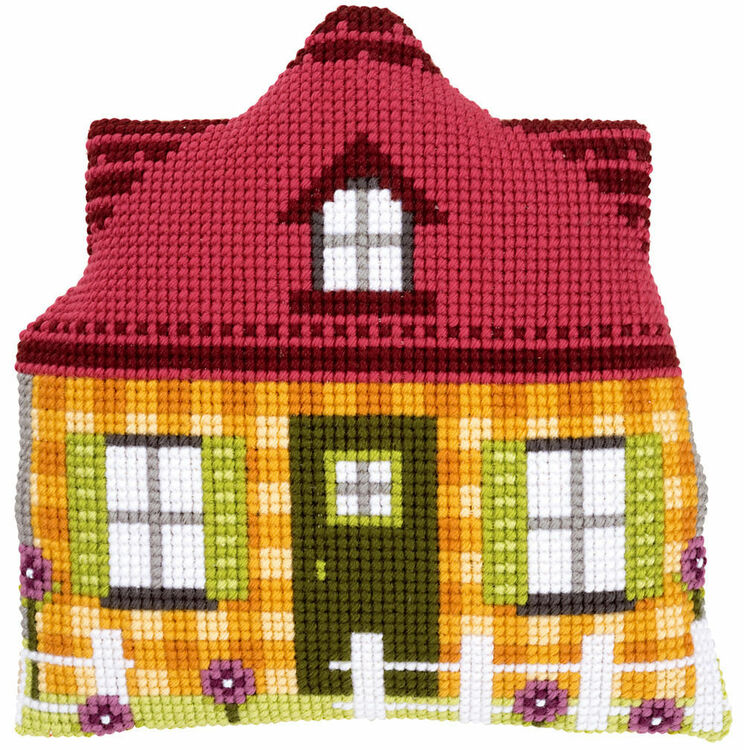 Yellow House Shaped Cushion Cover Cross Stitch Kit